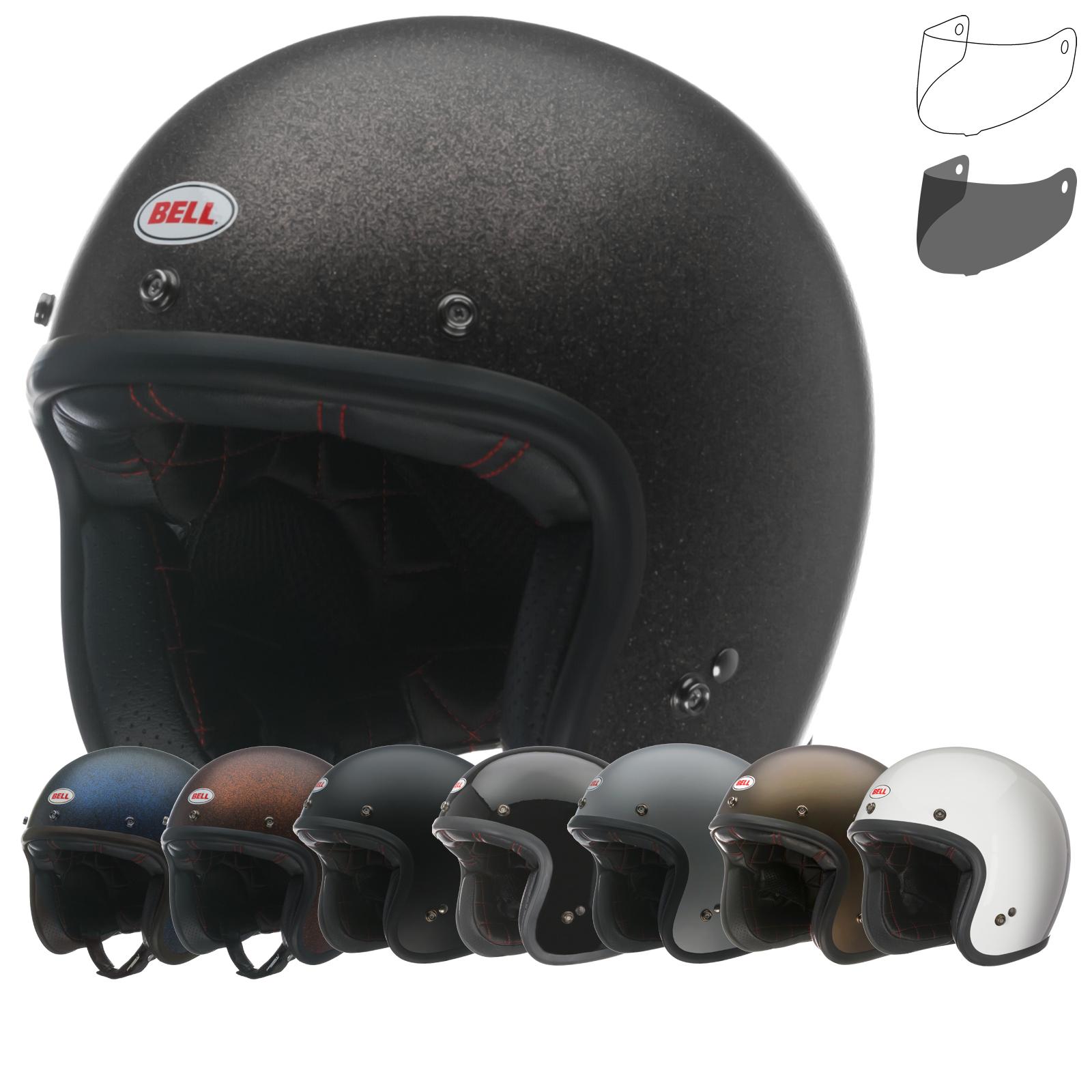 Bell Custom 500 Bubble Visor >> Bell Custom 500 Deluxe Open Face Motorcycle Helmet & Optional Bubble Visor - Open Face Helmets ...