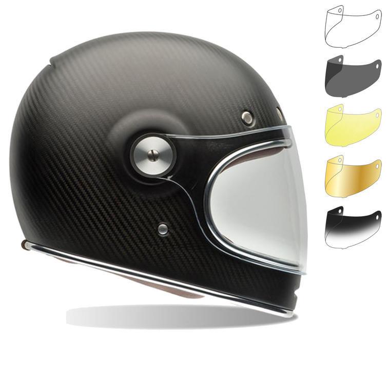 Bell Bullitt Carbon Matte Motorcycle Helmet & Brown Tab Bubble Visor