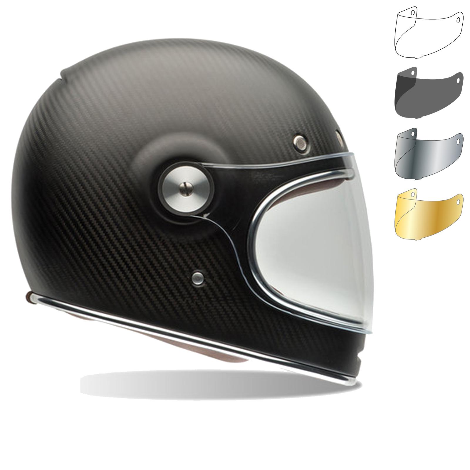 Bell Bullitt Carbon Matte Motorcycle Helmet & Brown Tab Flat Visor