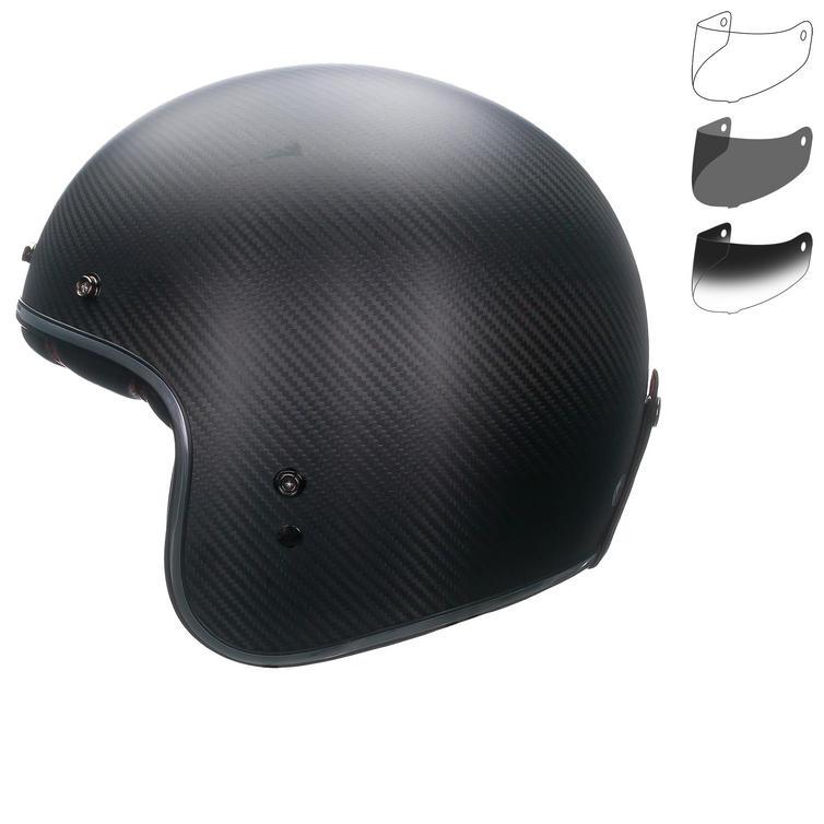 Bell Custom 500 Carbon Matte Open Face Motorcycle Helmet & Optional Fixed Visor