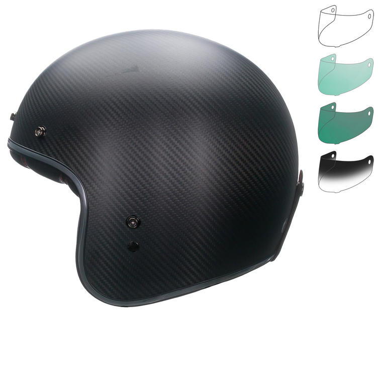 Bell Custom 500 Carbon Matte Deluxe Open Face Motorcycle Helmet & Optional Bubble Deluxe Visor