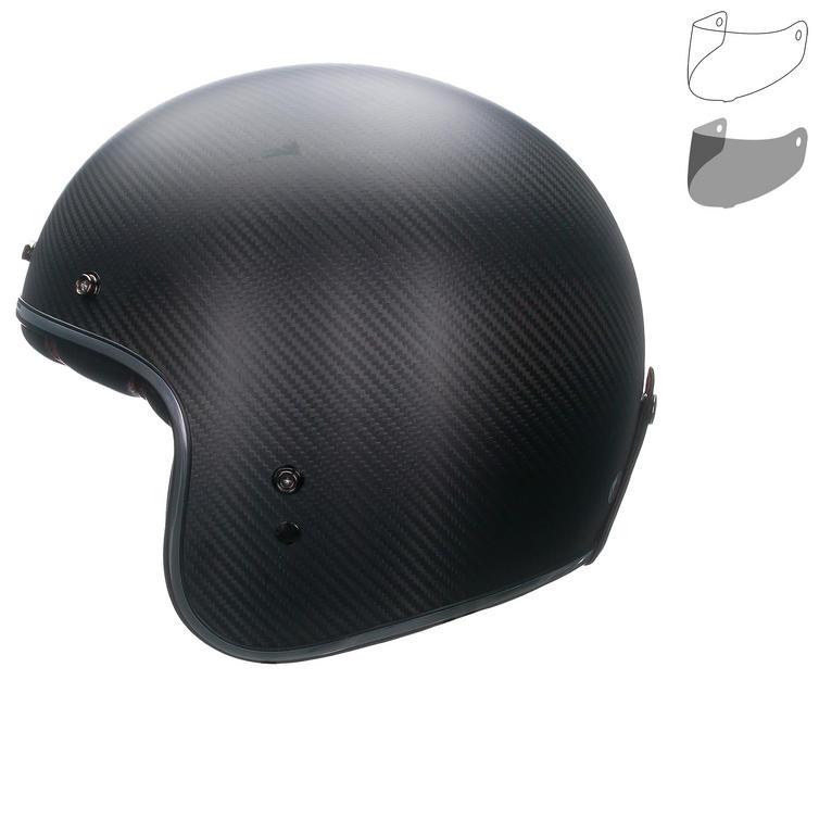 Bell Custom 500 Carbon Matte Open Face Motorcycle Helmet & Optional Flip Visor