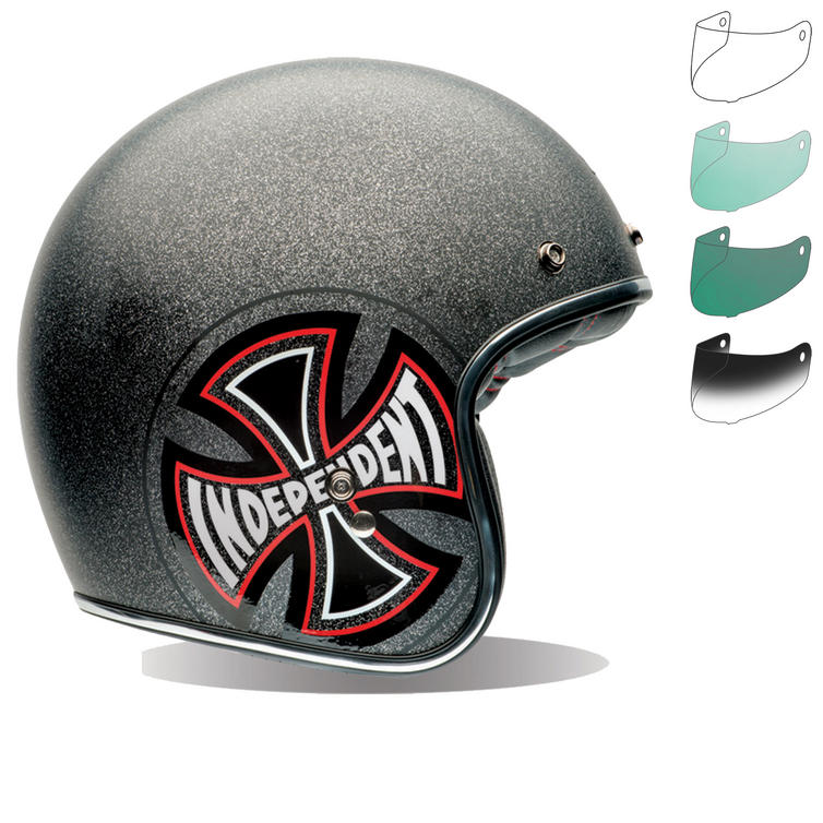 Bell Custom 500 SE Indy Open Face Motorcycle Helmet & Optional Bubble Deluxe Visor