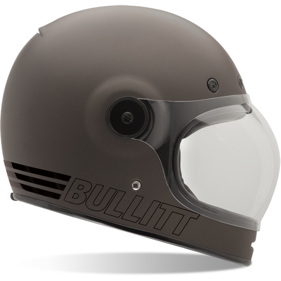 Bell Bullitt Retro Motorcycle Helmet Flat Tinted Black Tab Visor