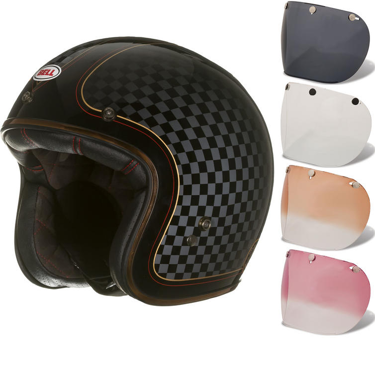 Bell Custom 500 SE RSD Check It Deluxe Open Face Motorcycle Helmet & Optional Fixed Visor