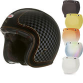 Bell Custom 500 SE RSD Check It Deluxe Open Face Motorcycle Helmet & Optional Bubble Visor