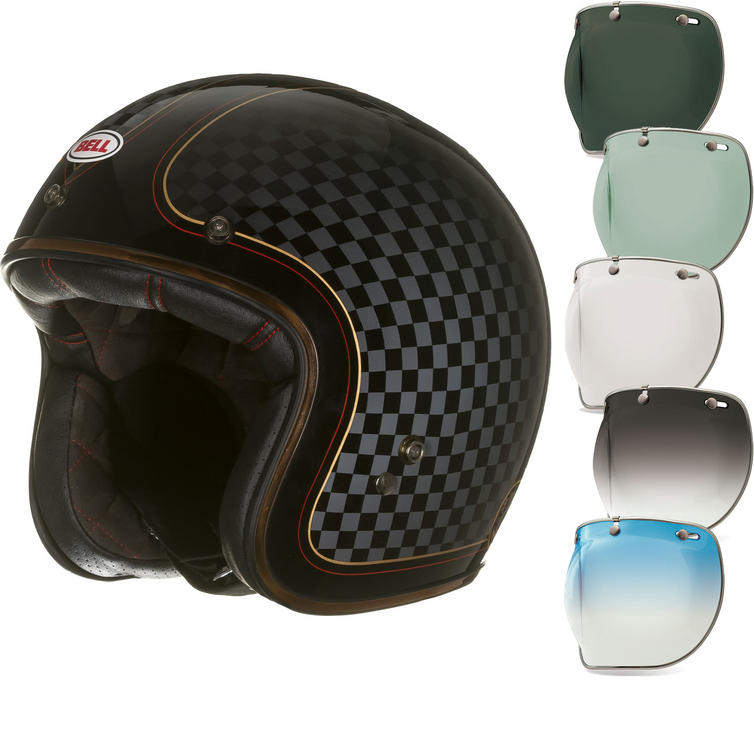 Bell Custom 500 SE RSD Check It Deluxe Open Face Motorcycle Helmet & Optional Bubble Deluxe Visor