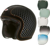 Bell Custom 500 SE RSD Check It Open Face Motorcycle Helmet & Optional Bubble Deluxe Visor