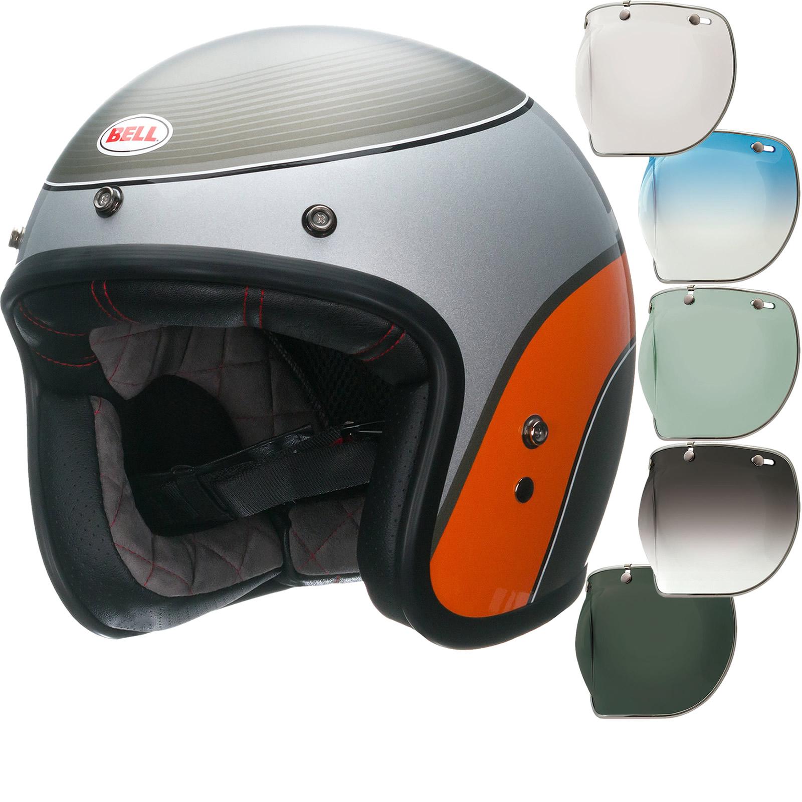 Bell Custom 500 Bubble Visor >> Bell Custom 500 SE Airtrix Delinquent Open Face Motorcycle Helmet & Optional Bubble Deluxe Visor ...