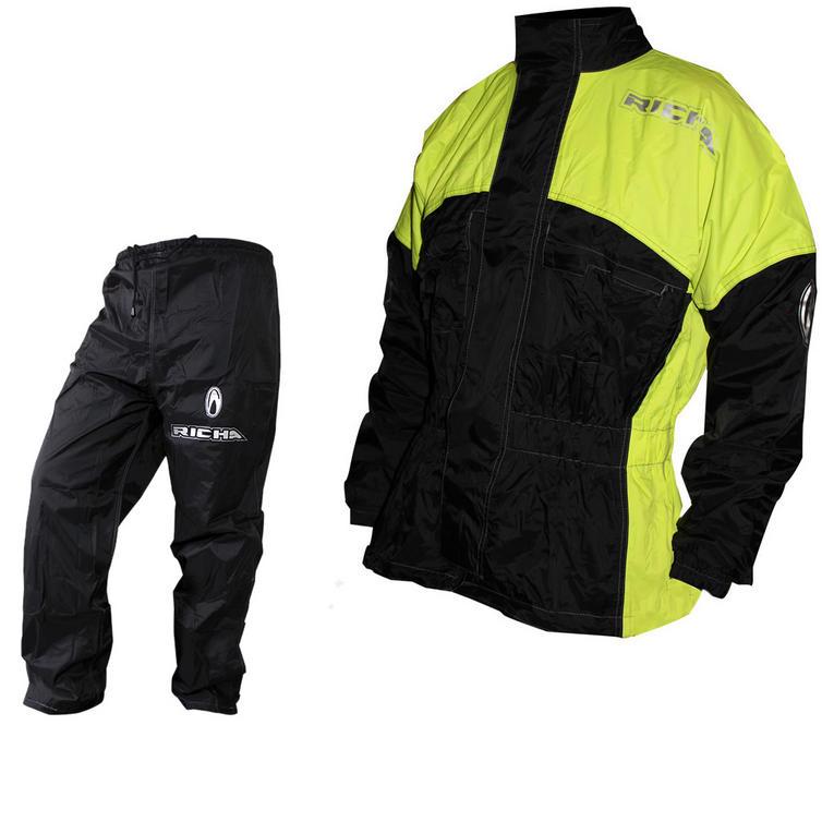 Richa Rain Warrior Motorcycle Jacket and Trousers Fluorescent Black Kit