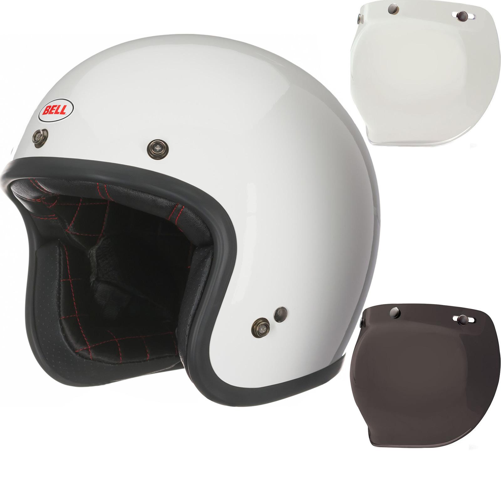 bbed9015 Sentinel Bell Custom 500 Deluxe Open Face Motorcycle Helmet & Bubble Visor  - White