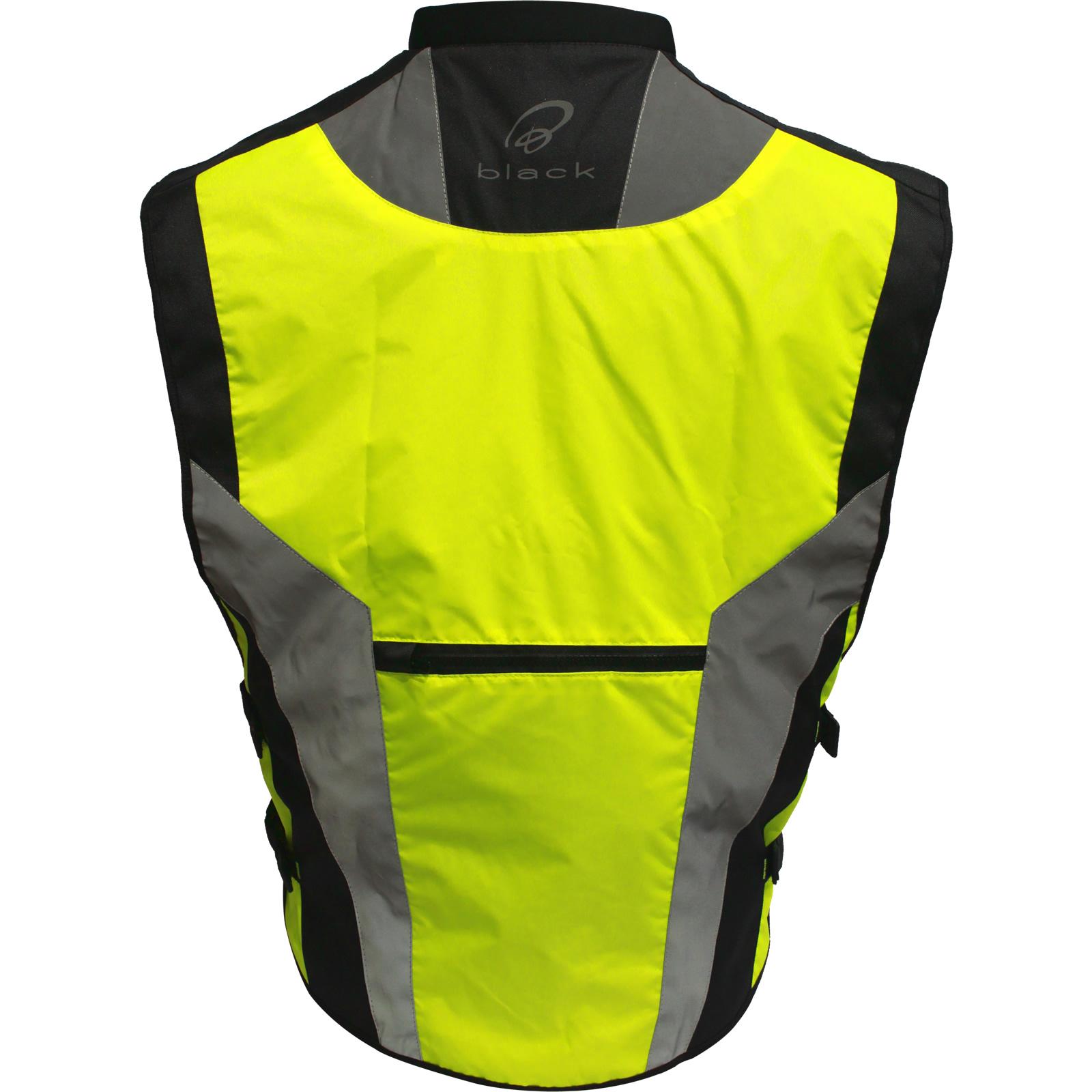Black Hi Vis Motorcycle Vest