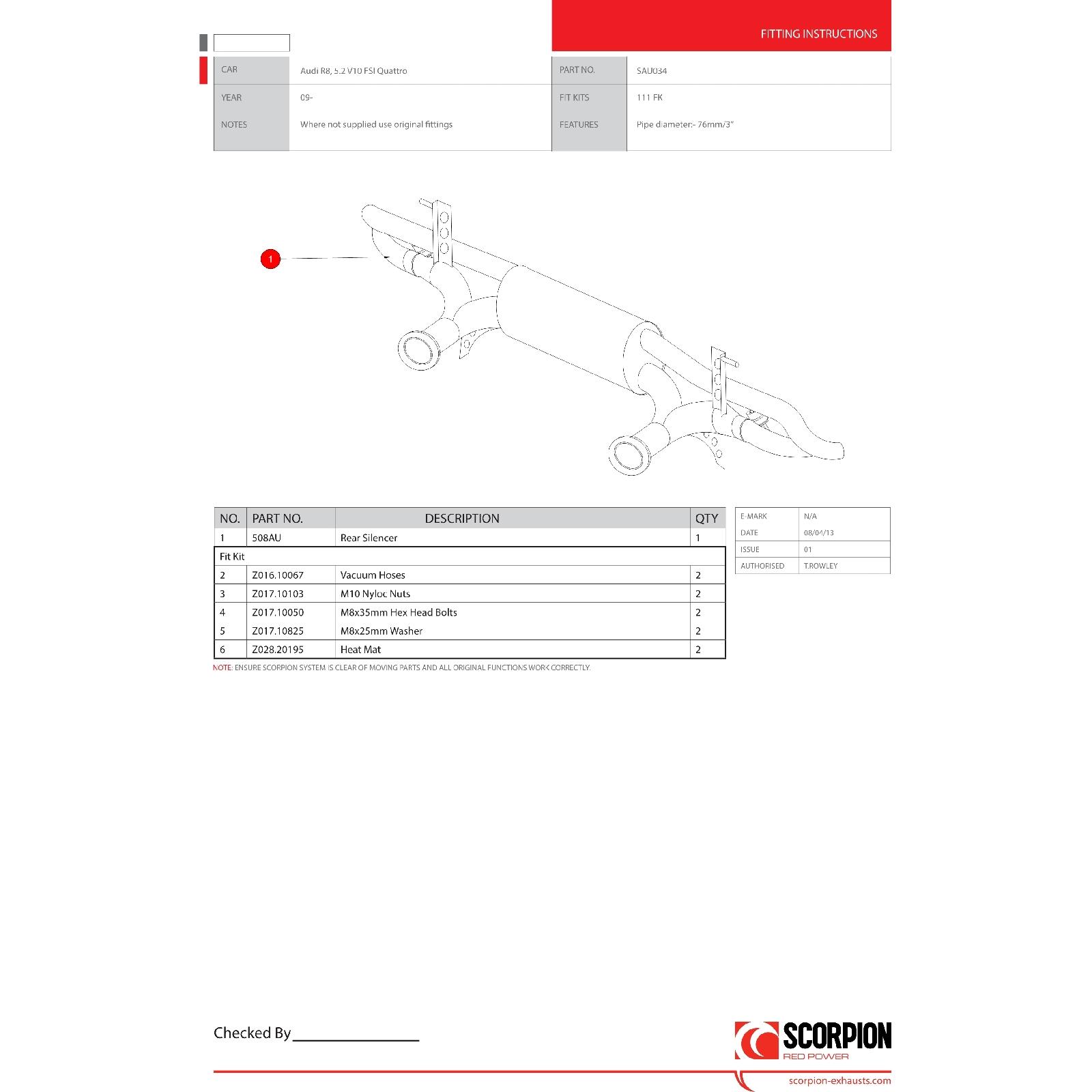Scorpion Exhaust Cat Back System Audi R8 V10 08 Catalyst Red Power 543 Engine Diagram Sentinel Sau034 Car 2008 Current