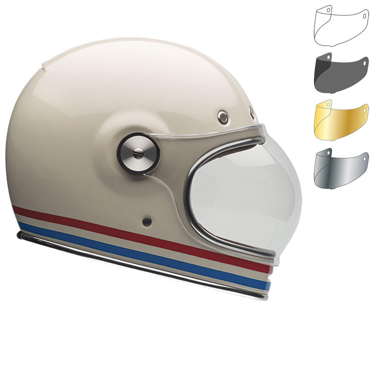 Bell Bullitt Stripes Motorcycle Helmet & Flat Shield Visor Kit Black Tab