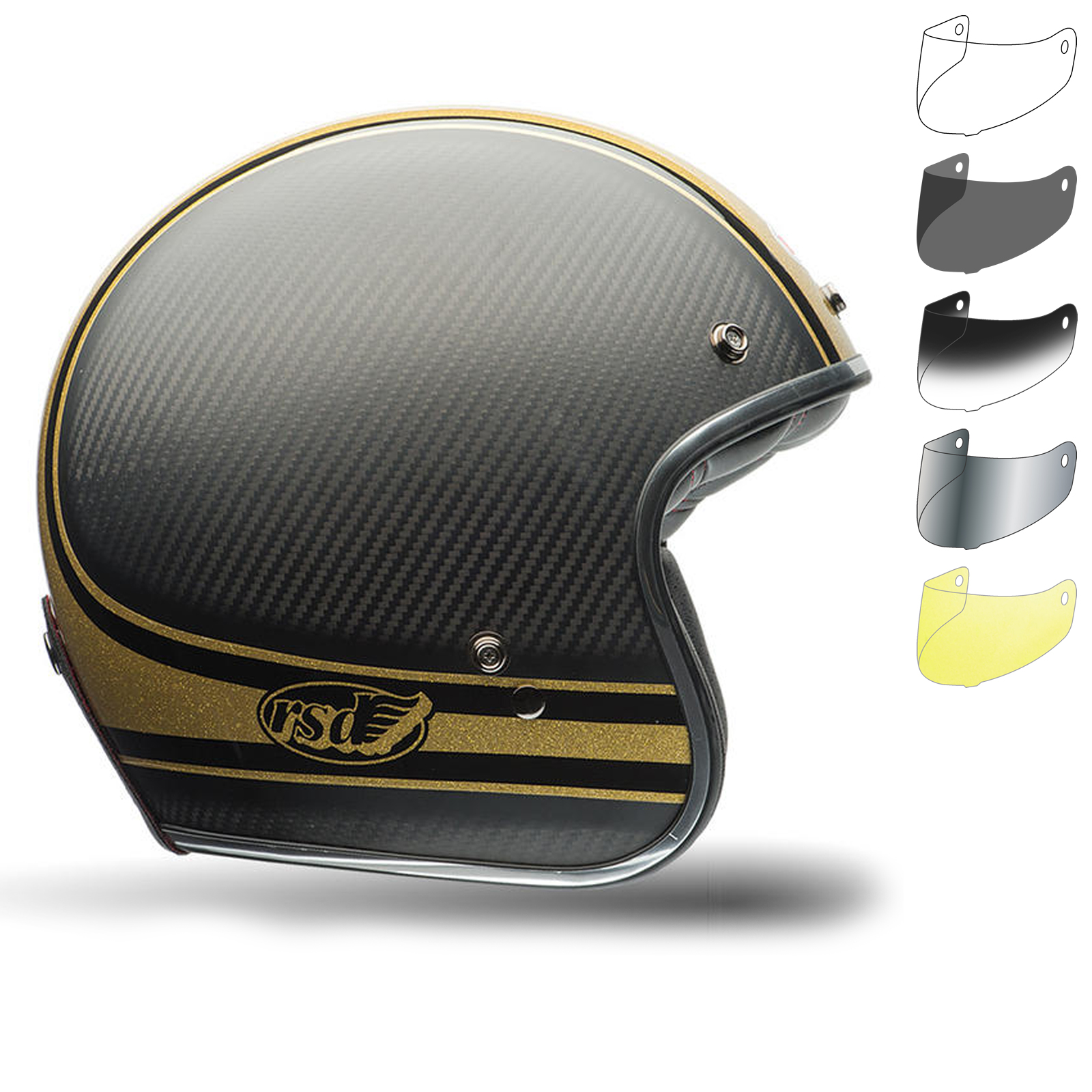 bell custom 500 carbon rsd bomb motorcycle helmet bubble. Black Bedroom Furniture Sets. Home Design Ideas
