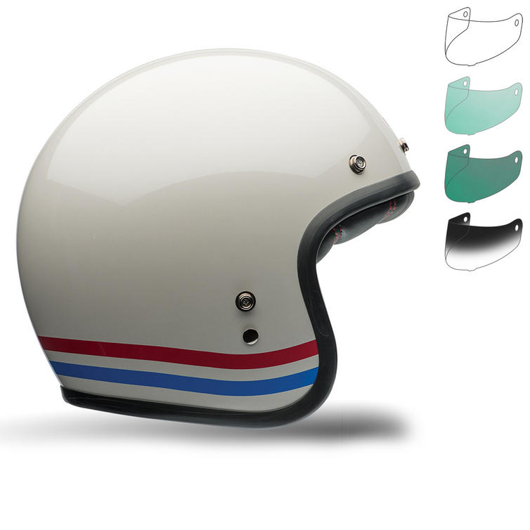 Bell Custom 500 Stripes Deluxe Motorcycle Helmet Bubble Deluxe Visor Kit