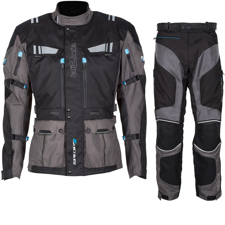 Spada Lati2ude Motorcycle Jacket & Trousers Black Anthracite Kit