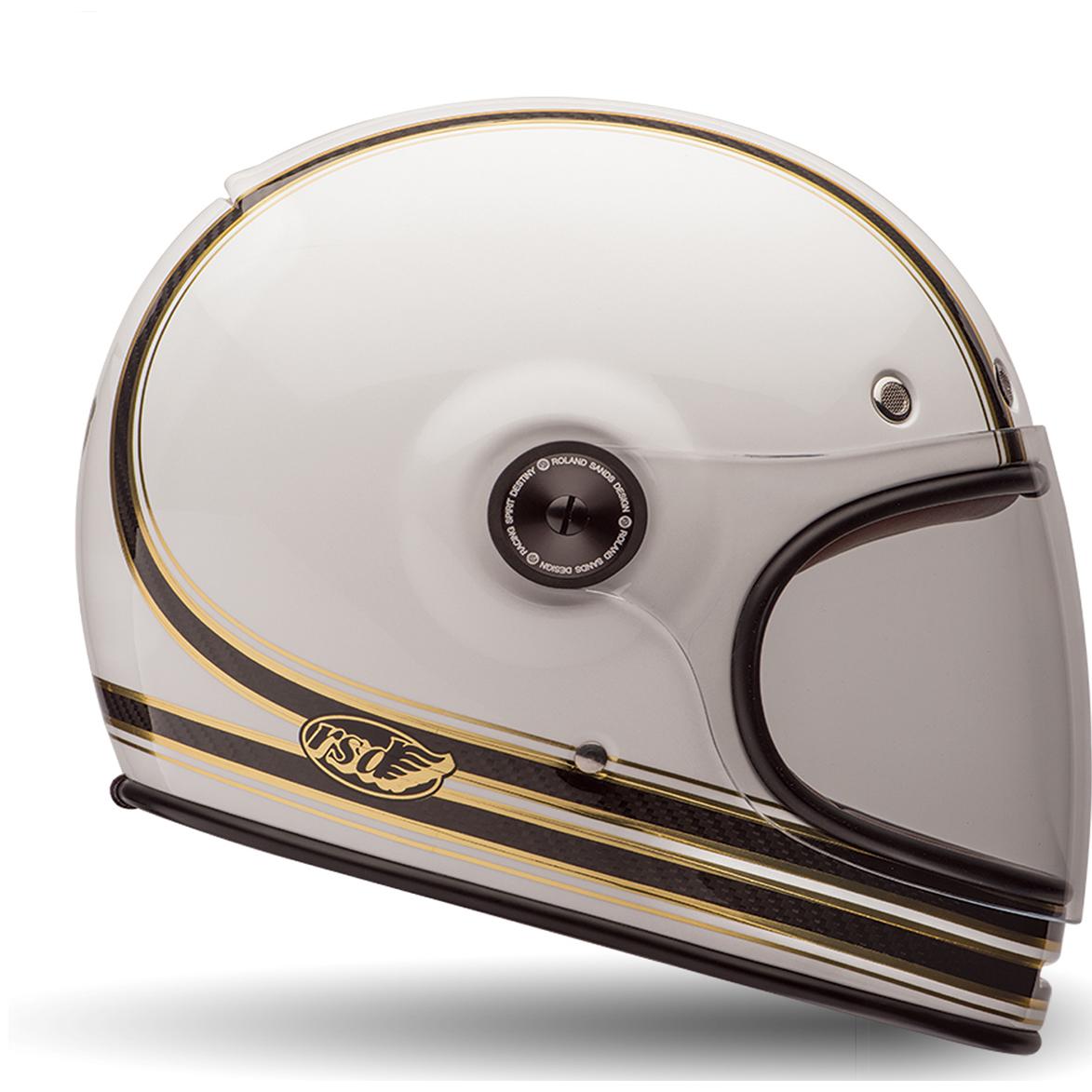 9a747a41 Bell Bullitt Carbon RSD Mojo White Motorcycle Helmet & Bubble Visor ...