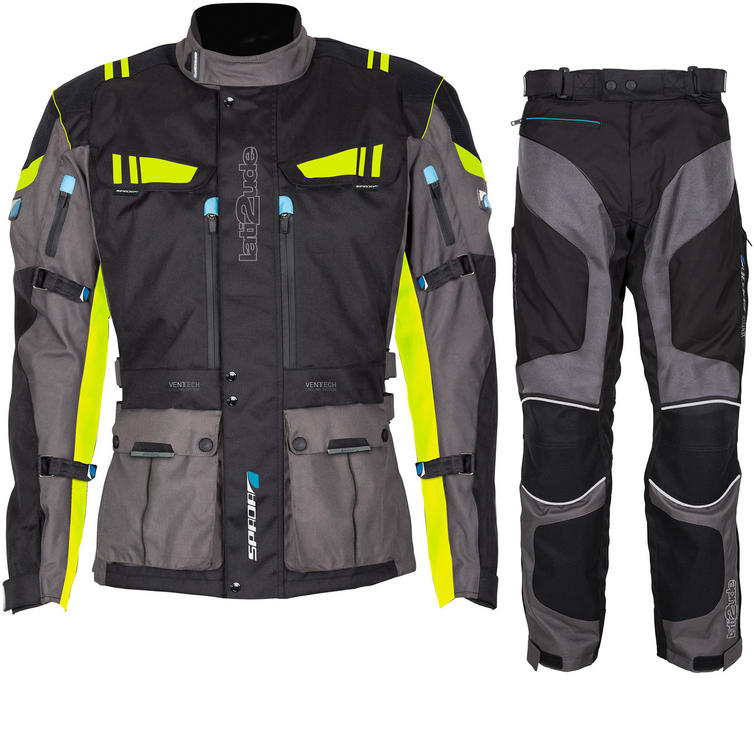 Spada Lati2ude Motorcycle Jacket & Trousers Black Fluorescent/Black Anthracite Kit