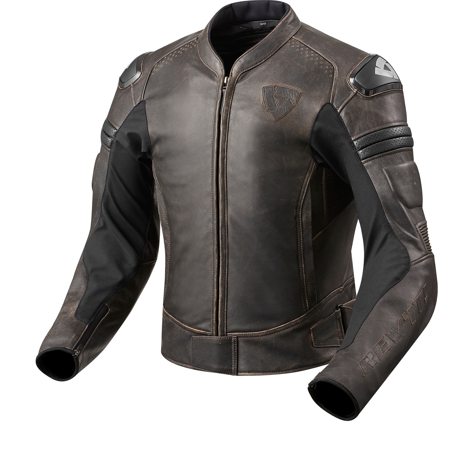 Rev It Akira Vintage Leather Motorcycle Jacket Retro Mens Ce