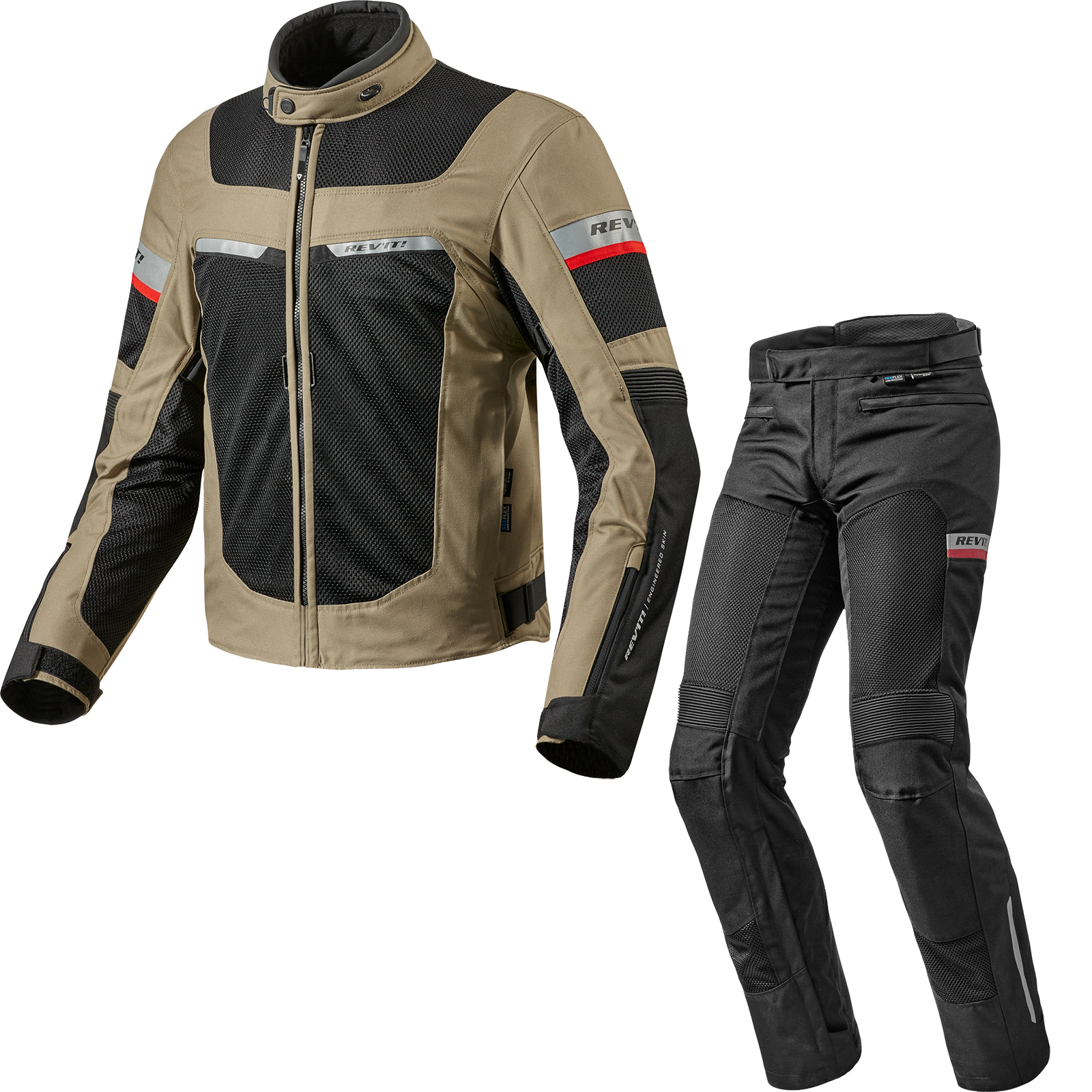 Rev It Tornado 2 Motorcycle Jacket Trousers Sand Black Kit Textile