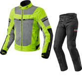 Rev It Tornado 2 HV Motorcycle Jacket & Trousers Neon Yellow Silver Black Kit