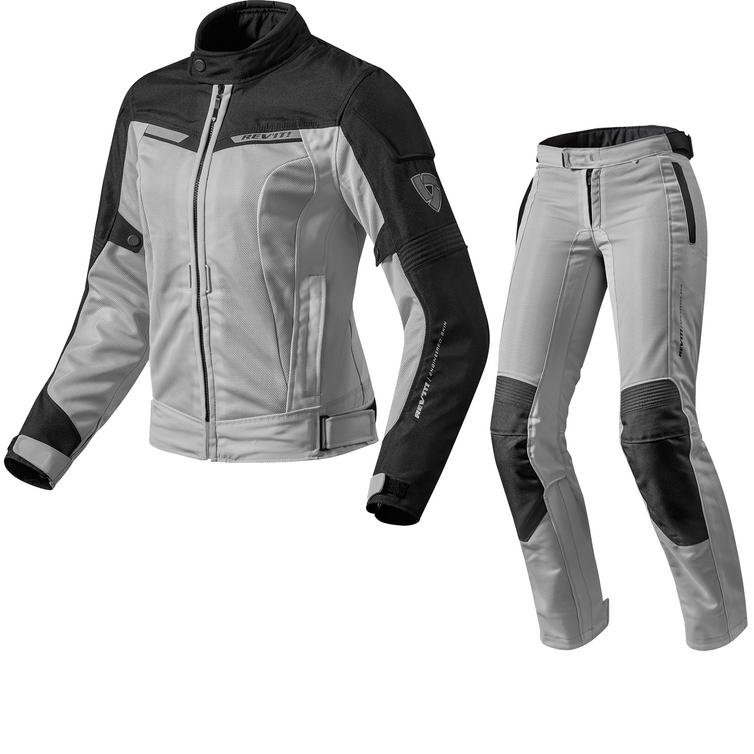 Rev It Airwave 2 Ladies Motorcycle Jacket & Trousers Black Silver Kit