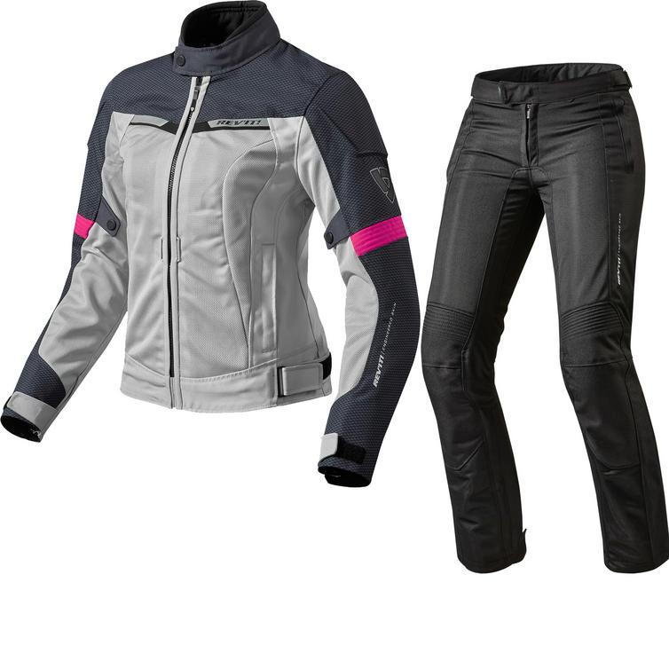 Rev It Airwave 2 Ladies Motorcycle Jacket & Trousers Silver Fuchsia Black Kit