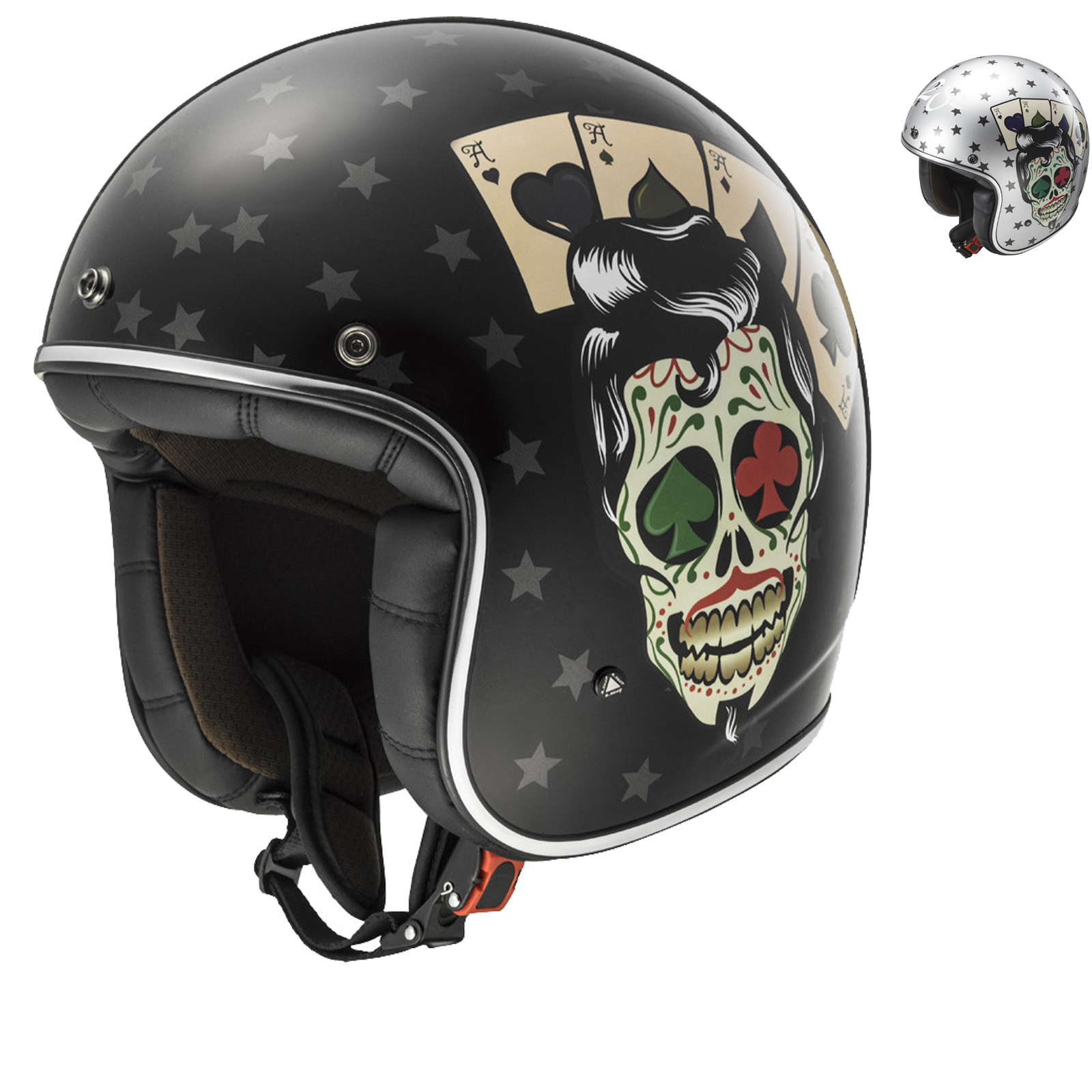 Ls2 bobber tattoo open face motorcycle helmet for Best helmet for motor scooter