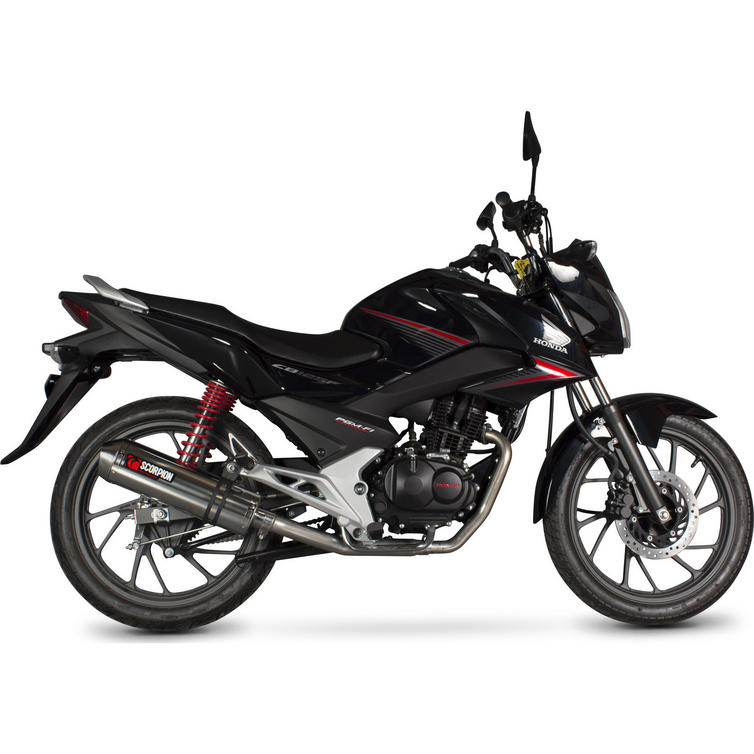 scorpion factory carbon oval exhaust honda cb 125 f full system 2015 current motorcycle. Black Bedroom Furniture Sets. Home Design Ideas