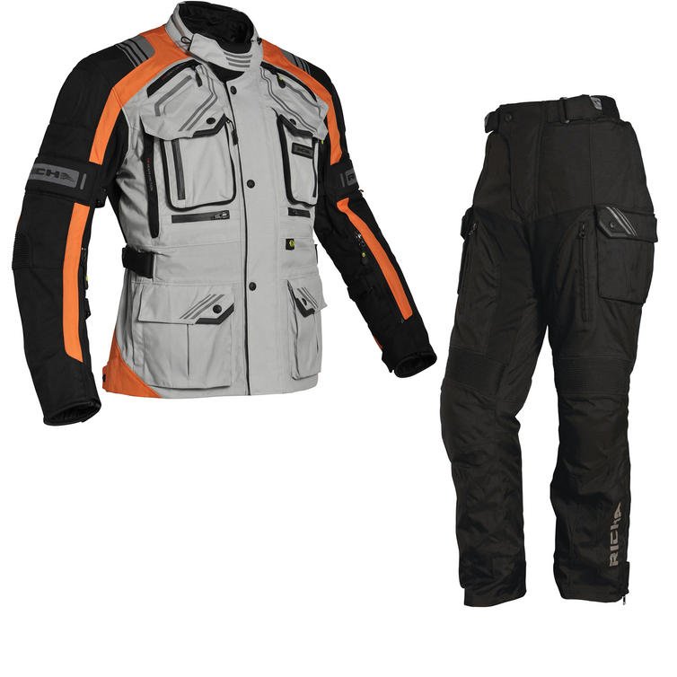 Richa Touareg Motorcycle Jacket & Trousers Grey Orange Black Kit