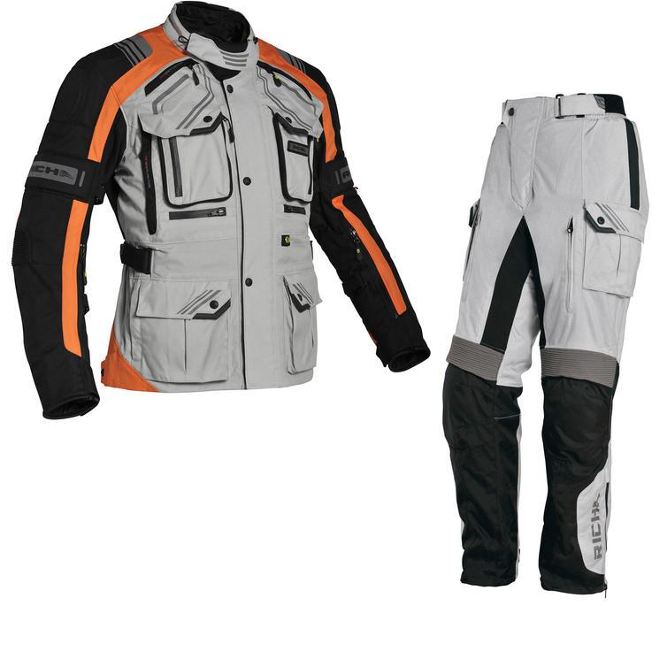 Richa Touareg Motorcycle Jacket & Trousers Orange Grey Kit