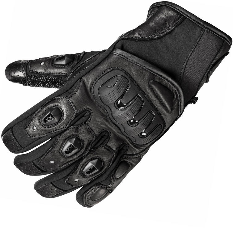 Black Spike Leather Motorcycle Gloves