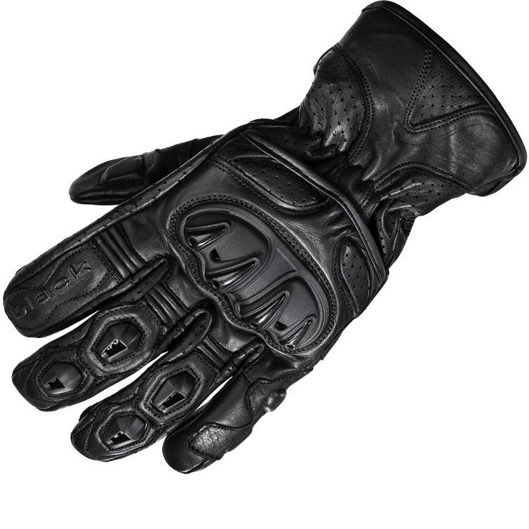 Black Track Short Leather Motorcycle Gloves