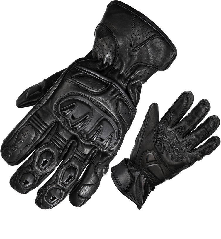 Black Track Short Leather Motorcycle Gloves