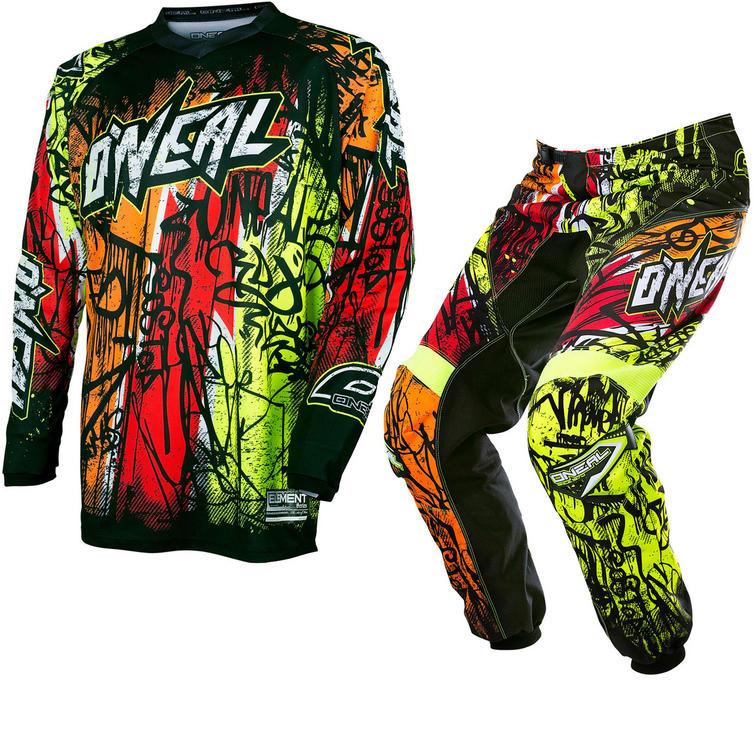 Oneal Element 2017 Vandal Motocross Jersey & Pants Black Neon Kit