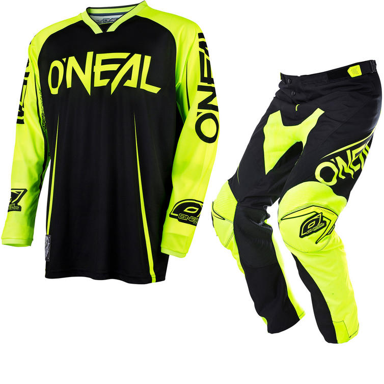 Oneal Mayhem Lite 2017 Blocker Motocross Jersey & Pants Black Hi-Vis Kit