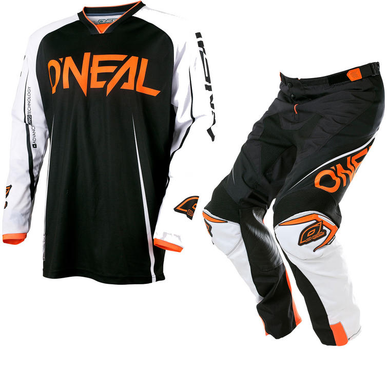 Oneal Mayhem Lite 2017 Blocker Motocross Jersey & Pants Black White Orange Kit