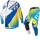 Fly Racing 2017 Evolution Motocross Jersey & Pants Blue Yellow White Kit