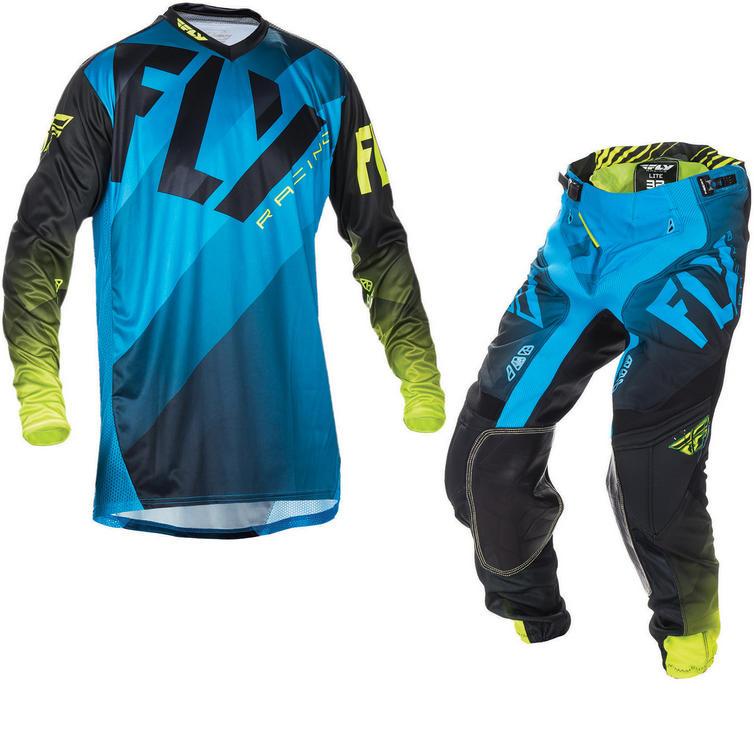 Fly Racing 2017 Lite Hydrogen Motocross Jersey & Pants Blue Black Hi-Viz Kit