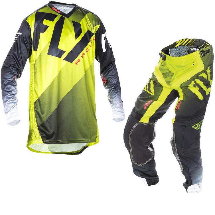 Fly Racing 2017 Lite Hydrogen Motocross Jersey & Pants Lime Black White Kit