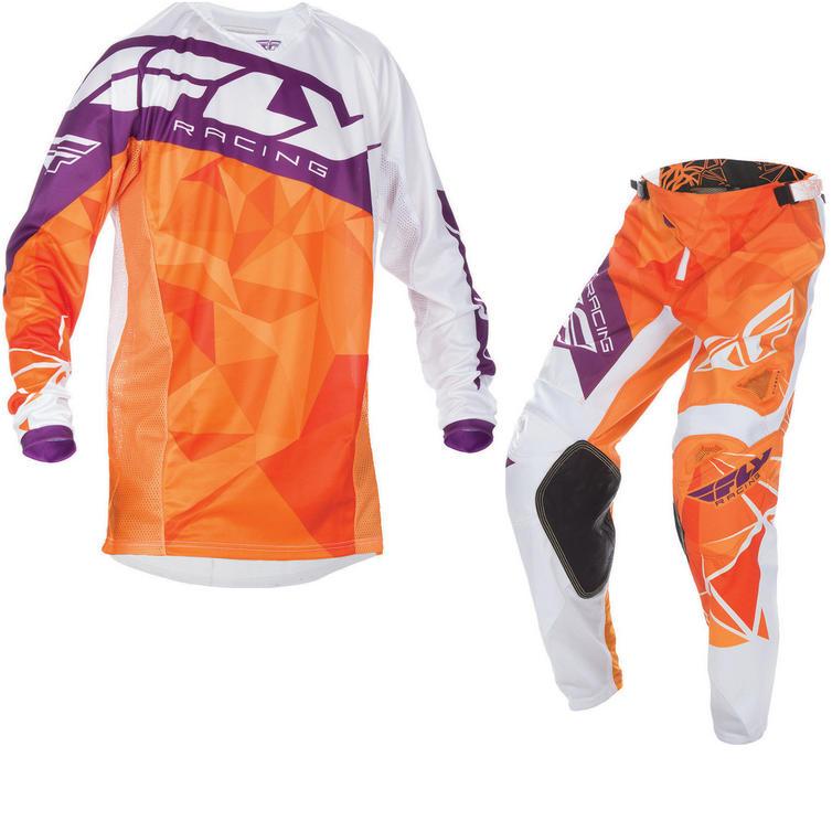 Fly Racing 2017 Kinetic Crux Motocross Jersey & Pants Orange White Burgundy Kit