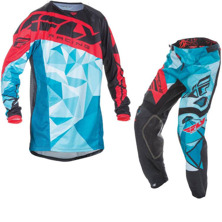 Fly Racing 2017 Kinetic Crux Motocross Jersey & Pants Teal Black Red Kit