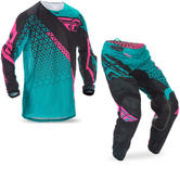 Fly Racing 2017 Kinetic Mesh Trifecta Motocross Jersey & Pants Teal Pink Black Kit