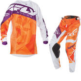 Fly Racing 2017 Kinetic Crux Youth Motocross Jersey & Pants Orange White Burgundy Kit