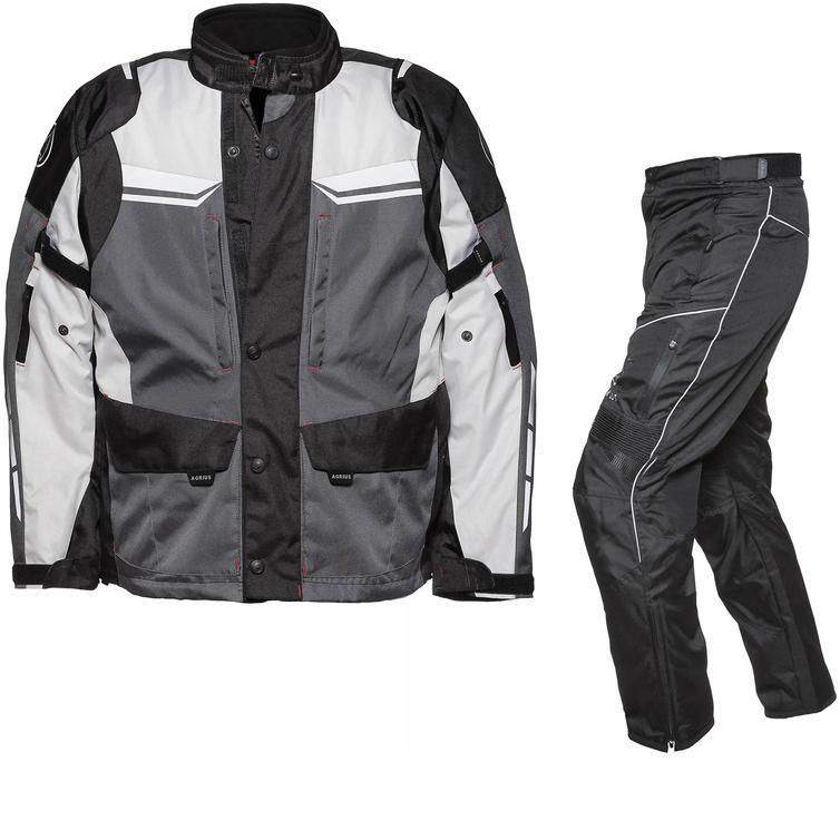 Agrius Columba Motorcycle Jacket & Hydra Trousers Black Grey Stone Black Kit - Standard Leg