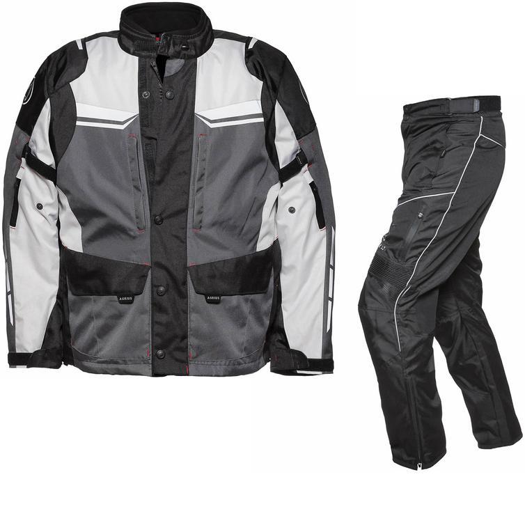 Agrius Columba Motorcycle Jacket & Hydra Trousers Black Grey Stone Black Kit - Long Leg