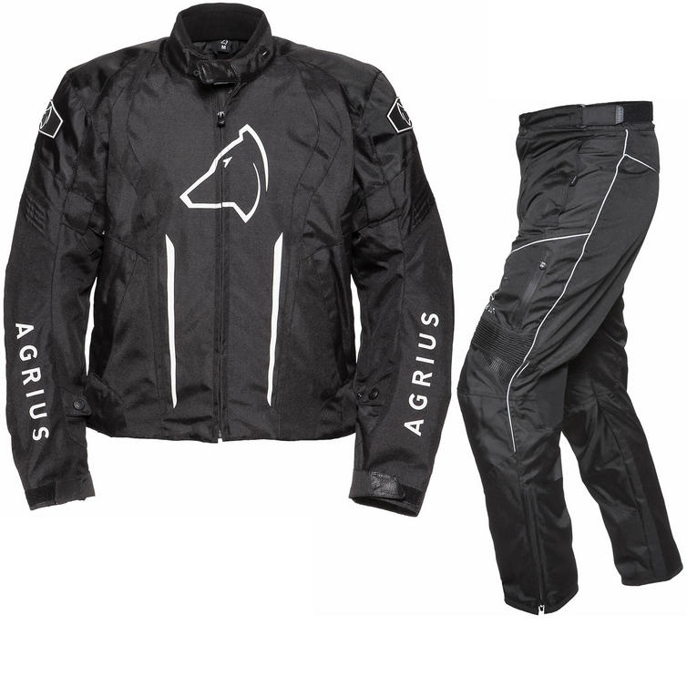 Agrius Phoenix Motorcycle Jacket & Hydra Trousers Black Kit - Standard Leg