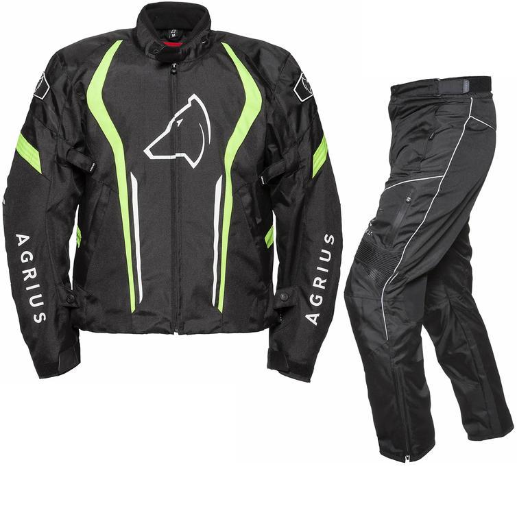 Agrius Phoenix Motorcycle Jacket & Hydra Trousers Black Hi-Vis Black Kit - Standard Leg