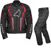 Agrius Phoenix Motorcycle Jacket & Hydra Trousers Black Red Black Kit - Short Leg
